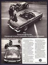 "1947 MG-TC Roadster & 1973 MG MGB Convertible photo ""Breeds Fun"" promo print ad"
