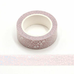 Holographic Colour Changing Silver Love Hearts Washi Tape 15mm x 5 Meters