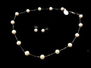 """Cultured Pearl Set Earrings & Bracelet 14k 585 White Gold 16"""" DS03"""
