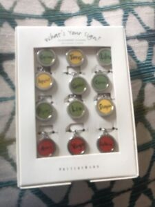 Pottery Barn What's Your Sign Glassware  CHARMS 8Pc Set Wine Stemware Marker MIB