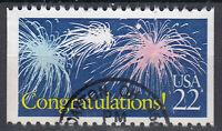 USA Briefmarke gestempelt 22c Congratulations Feuerwerk Rundstempel / 1863