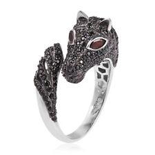 Mozambique Garnet, Thai Black Spinel Black Rhodium & Sterling Silver Horse Ring