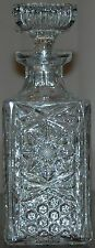 American Brilliant Cut Glass Clear Crystal Liquor / Wine Decanter & Stopper