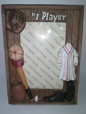 """#1 Player Baseball & Football Sports 5"""" x 3"""" Photo Picture Frame Gift New in Box"""