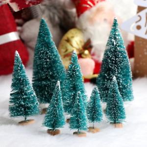 15Pcs Mini Sisal Christmas Trees Ornaments Miniature Snow Frost Xmas Party Decor