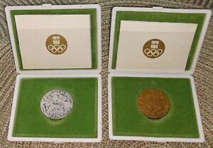 1964 Tokyo Olympic Game Commemorative Coin Sets Copper & Silver in Original Case