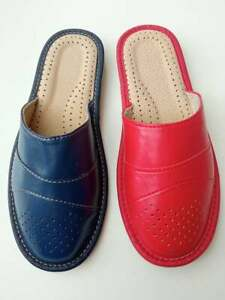 Womens Ladies Red Navy Blue Leather Slippers Slip On Shoes  Mules Sandals