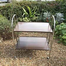 Vtg Mid Century Wood Veneer Trolley Chrome Drinks Cockt Tea Folding Hostess