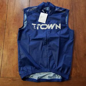Maloja Pro Cycling Vest Mens XS Blue Pushbikers Race Fit Full Zip Windbreaker