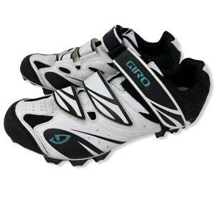 Giro Riela Womens Cycling Shoes Size 7.5 White Black Teal Straps
