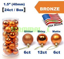 24 CT Shatterproof Christmas Ornament Balls Tree Hanging Wedding Decor BRONZE