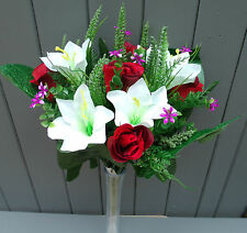 Artificial Mix Flower Bush of Red Roses and White Lilies