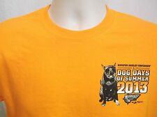 Harley Davidson Medium T-Shirt Dog Days of Summer Pugs K9 Biker BUMPUS TN Orange