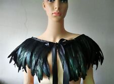 Black Green Feather Hand made Collar Cape Shawls Wrap for party evening dress