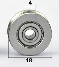 4mm Bore Bearing With 18mm Shielded Pulley U Groove Track Roller Bearing 4x18x7