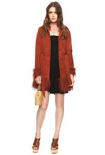 FOREVER 21 I Love H81 Solid Rust / Red Shagged Trimmed Leather Coat S size