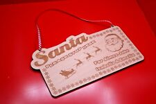 Santa Please Stop Here For Sign Christmas Xmas Candy Cane Ribbon Decoration Sign