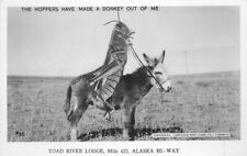 1940s Toad River Lodge Alaska Hwy Grasshopper Exaggeration Rppc Canada Postcard