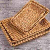Woven Wicker Cane Bamboo Basket Breakfast Fruit Bread Roll Storage Trend Cxz