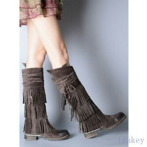 Womens Suede Retro Square Toe Lace-up Tasseled Knee High Boots Casuals Shoes New