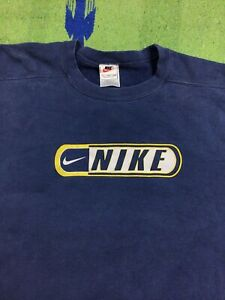 Vintage Nike Swoosh Spell Out Crewneck Blue Sweatshirt Made In USA Mens Size 2XL