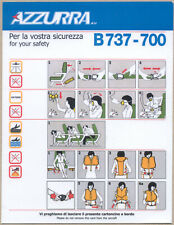 SAFETY CARD AZZURRA AIR BOEING 737-700 DIFFERENT LAYOUT