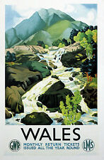TX435 Vintage British Wales By Train Railway Retro Travel Poster A2//A3//A4