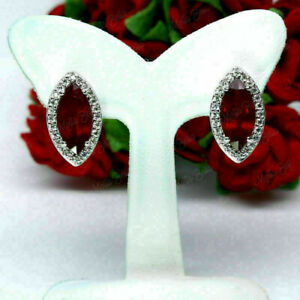 3Ct Marquise Cut Red Ruby Halo Pretty Women's Stud Earring 14k White Gold Finish