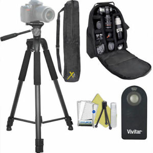 "75"" PRO HEAVY DUTY TRIPOD + LARGE PADDED BACKPACK + REMOTE FOR NIKON D3400 D5600"