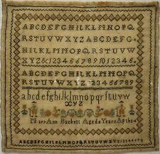 MID 19TH CENTURY ALPHABET & FIGURES SAMPLER BY MARY ANN BUCKETT AGED 8 - c.1860