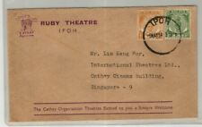 Malaya 1954 Advertisement cover 'RUBY THEATRE IPOH', sent to Singapore, 'The Cat