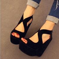 Womens Sexy Peep Toe Suede High Heel Wedge Sandals Hollow Black Platform Shoes