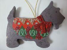 Gisela Graham Grey Festive Wood Scottie Dog Christmas Decoration 6.5x8cm