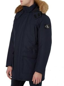 Calvin Klein Jeans Faux Fur Trimmed Down Parka Size Medium New With Tags