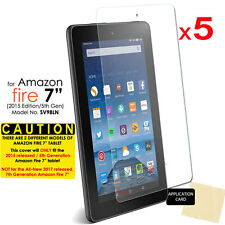 """5x CLEAR Screen Protector Covers for Amazon Fire 7"""" Tablet 2015 / 5th Generation"""