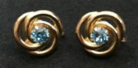 Vintage Screwback Earrings Goldtone & Blue Crystal Stones Costume Fashion 5053F