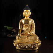 "12"" Antique Tibetan Buddhist copper gilt hand painting Sakyamuni Buddha statue"