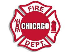4x4 inch CHICAGO FIRE DEPT Maltese Shaped Sticker - logo firefighter cfd fd il i