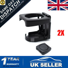 2X Auto Folding Beverage Universal Car Drink Cup Bottle Holder Stand Mount Black