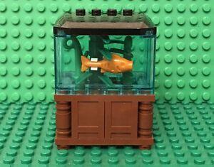 Lego Prebuilt MOC City Mini Figures Gold Fish Tank / Aquarium With Grass Plants