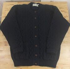 VTG Inisfree Ireland Blue-Green Wool Cable Knit Fisherman Cardigan Sweater Sz M