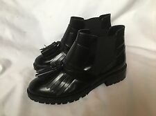 New ASOS Black Patern Leather Fringe Biker Boots  UK 7 (40)