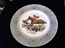 VINTAGE BOLD COLOURED DISPLAY PLATE GRINDLEY HORSE HOUND AQUA GILT RIM 10.25""