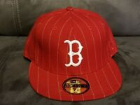 Boston Red Sox New Era 59FIFTY Fitted Hat Cap Red w/pin stripe - RARE