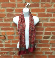 Vintage Red Gold Green Paisley Print Scarf Womens