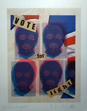 Jamie Reid - Vote For Light, 8 Colour Silkscreen Ltd. Edition Titled and Signed