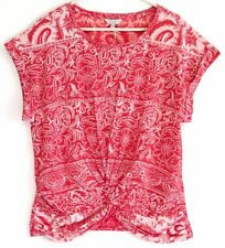 Lucky Brand Coral Red Floral Paisley Knot Front Tee Top Dolman Sleeves Medium M