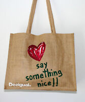 Desigual Heart Tote Shopping Bag
