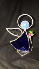 Glasglo Stained Glass Angel Figurine Figure Blue Dress & Flowers USED