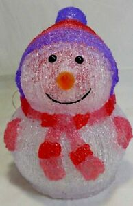 🔥 Lumineo Outdoor LED Acrylic Snowman 24cm 20 Cool White Lights - PURPLE/RED